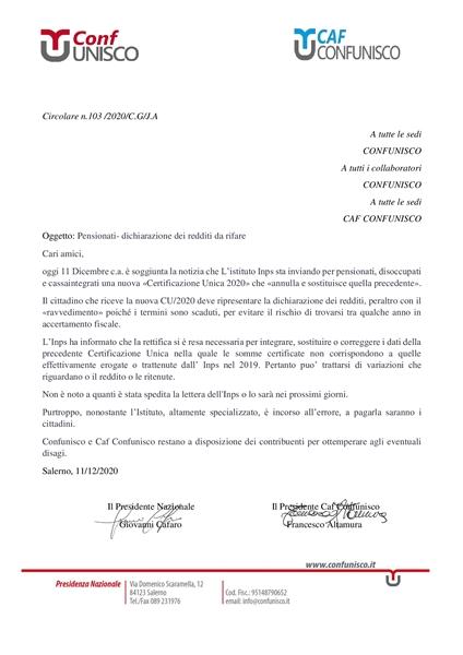 PENSIONATI- DICHIARAZIONE DEI REDDITI DA RIFARE