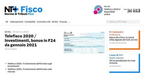 Professionisti: arriva Nt+Fisco, giornale digitale e strumento di lavoro
